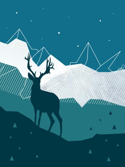 plakat góry dostojny jeleń