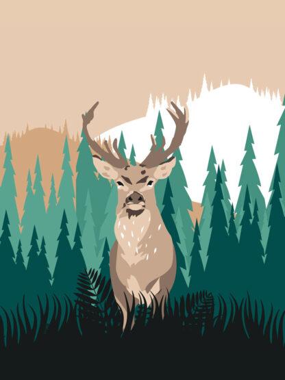 plakat jeleń góry przyroda