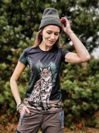 koszulka z rysiem techniczna damska